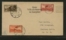 Saar  144,   C5-6  on cover   1935   to  US            KL0803