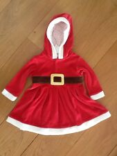 Next NWT red Christmas baby girl Santa clause Hooded Velvet dress sz 9-12m