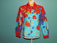 St. John Sport $495 Red Aqua Floral Stretch Cotton Twill Gold Logo Jacket sz S