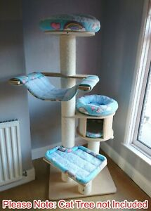Handmade BLUE & RAINBOW LOVES Cat Bed Replacement Set for Natural Paradise XL
