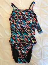 New Womens Speedo Red Blue Star Houndstooth ProLT Racing 8/34 NWT $40