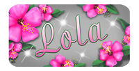 """Pink Hibiscus Flowers Decal Bumper Sticker 6"""" Personalize Gifts Any Name Or Text"""