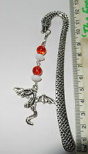Dragon,St George fantasy mythical bookmark, bookmarks 4 reader, red & white bead