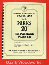 """PARKS 20"""" Thickness Planer Operator's & Parts Manual 0505"""