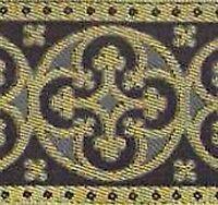 Wide, Jacquard, Christian Vestment Trim. Gray & Gold