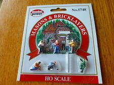 Model Power #5748 HO Figures Painted - Working People - Masons & Bricklayers