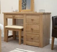 Vermont solid oak bedroom furniture dressing table with stool