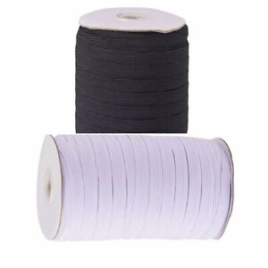 Flat Elastic in Black And White Wide High Quality 1/2 Inch 12mm