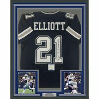 FRAMED Autographed/Signed EZEKIEL ELLIOTT 33x42 Dallas Blue Jersey Beckett COA