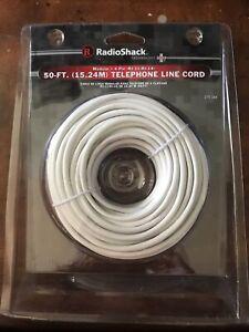 NEW RadioShack 50-ft Telephone Line Cord Modular 4-Pin RJ -11 / RJ -14 04  -26