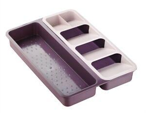 FOLYLIFE, DUAL Cutlery Tray Organiser Rack Holder Drawer Insert Tidy Storage
