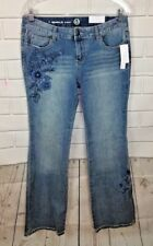 NEW Westport Womens Jeans Cotton Signature Boot Floral Embroidred Stretch Sz 4