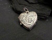 Toller 835 Silber Anhänger Medaillon Herz Jugendstil Art Deco Liebe Blume Fein
