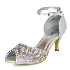 Ladies Diamante Mid Heel Ballroom Shoes Ankle strap Peep toe Holiday Prom Bridal