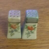 SMALL SQUARE TOWER TYPE  JAPAN  WITH FLOWERS SALT & PEPPER SHAKERS