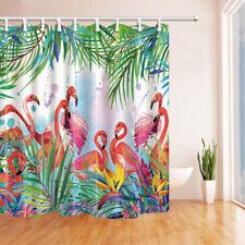 Pink Flamingo In The Jungle Watercolor Fabric Shower Curtain Bathroom Waterproof