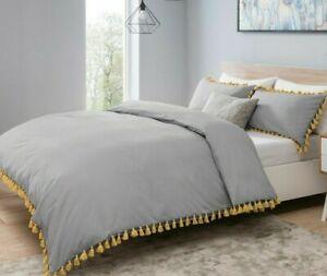 Pom Pom Duvet Quilt Cover Grey / Ochre Tassels Luxury Bedding Set With P-cases