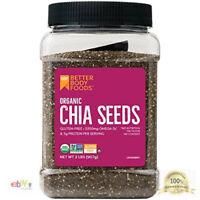 2 LB ORGANIC BLACK CHIA SEEDS 100 % Pure Omega-3 Vegan Gluten-Free Non-GMO USDA