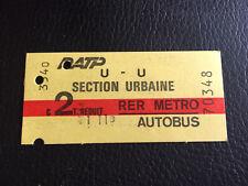 Ancien ticket metro rer autobus RATP section urbaine TARIF REDUIT subway ticket