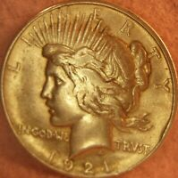 1921 Peace Dollar 90% Silver $1 Key date About Uncirculated AU details