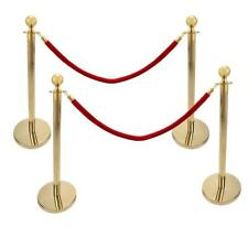 4Pcs Gold Stainless Steel Stanchion Queue Barrier Posts w/ 2 Red Velvet Rope