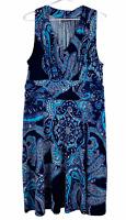 Jacqui E Womens Blue Sleeveless Dress Size L