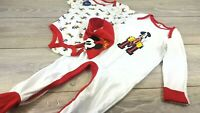 Official Disney MICKEY Baby 3 Piece Romper SET White / Red 12-18 Mnth A352-1