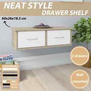 vidaXL Wall-mounted Drawer Shelf 60x26x18.5cm Chipboard Cabinet Multi Colours