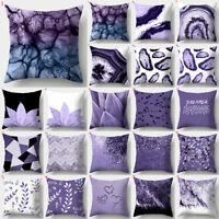 Purple Geometric Cushion Cover 45*45 Square Throw Pillowcase Home Sofa Decor