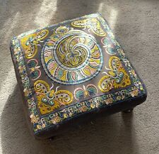 Bohemian Stool Pouffe Psychedelic Retro Kitsch Design - Indian Made W/Brown Legs