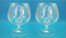 Pair of Bohemia Crystal Brandy Glasses With Golfer Design