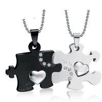 Coppia collane puzzle cuore nero argento acciaio uomo donna personalizzabile inc