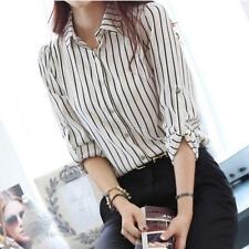 Women Ladies Chiffon OL Shirt Long Sleeve Turn-down Collar Button Blouse Tops