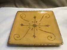 "CLAY ART Toscana  Stonelite 8 1/2"" Square ~ Gold W/ Design"