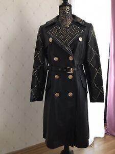 Versace Leder Mantel mit Nieten Größe 38 M Versace for H&M Limitierte Edition