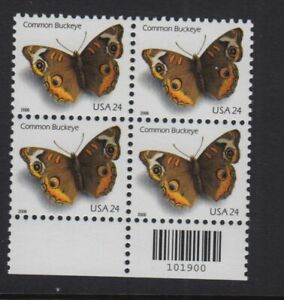2006 Buckeye butterfly Sc 4000 MNH block of 4, bar code position, limited issue