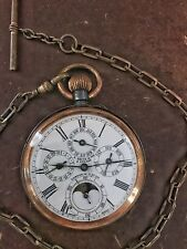 Vintage Moonphase Triple Calendar S. Smith & Son 50mm Gun Metal Case with Chain