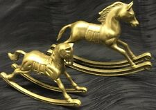 Vintage Antique Solid Brass Rocking Horse Figurine Lot Equestrian Paper Weight
