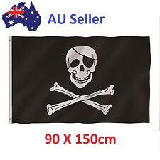Skull Crossbones Jolly Roger Pirate Flag Outdoor + 2 Grommets Banner 90x150cm AU