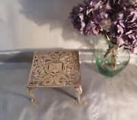 Antique Victorian Solid Brass Trivet with Pierced Design and Coat of Arms