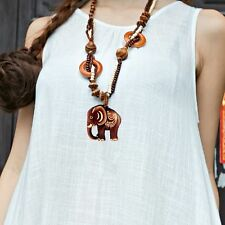 Boho Jewelry Necklace Wood Elephant Pendant Hand Made Bead Long Ethnic Style