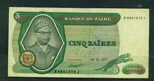 ZAIRE - 1977 5 Zaire Circulated Banknote