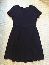 NWT JCrew Collection Pleated Silk Pocket Dress  Navy Blue 10 65848 $325 SOLD-OUT