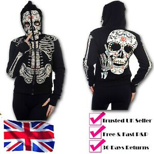 Halloween Sugar Candy Skull Full Face Zip Up Skeleton Punk Goth Hoodie By BANNED