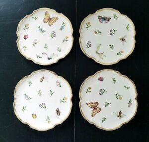 """I. Godinger & Co Primavera 6 1/4"""" Dessert Plates Butterfly Flower Set of 4"""