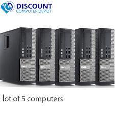 Lot of 5 Desktop Computers Dell Core i5 3.2GHz 8GB RAM 180GB SSD Windows 10 Pro