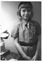 GIRL IN UNIFORM Vintage FOUND PHOTOGRAPH bw SCOUT Original Snapshot 09 13 A