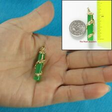 14k Solid Yellow Gold Dragon Totem Column Green Jade Pendant TPJ