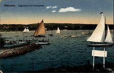 BERLIN AK um 1920 WANNSEE Color Ansichten Segelschiffe alte AK Segel-Sport