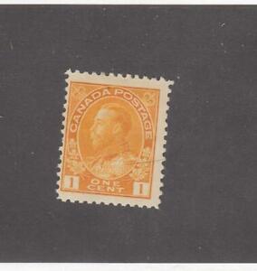 CANADA (MK3608) # 105  F-MH  1cts 1922 KGV ADMIRAL / ORANGE YELLOW CAT VALUE $10